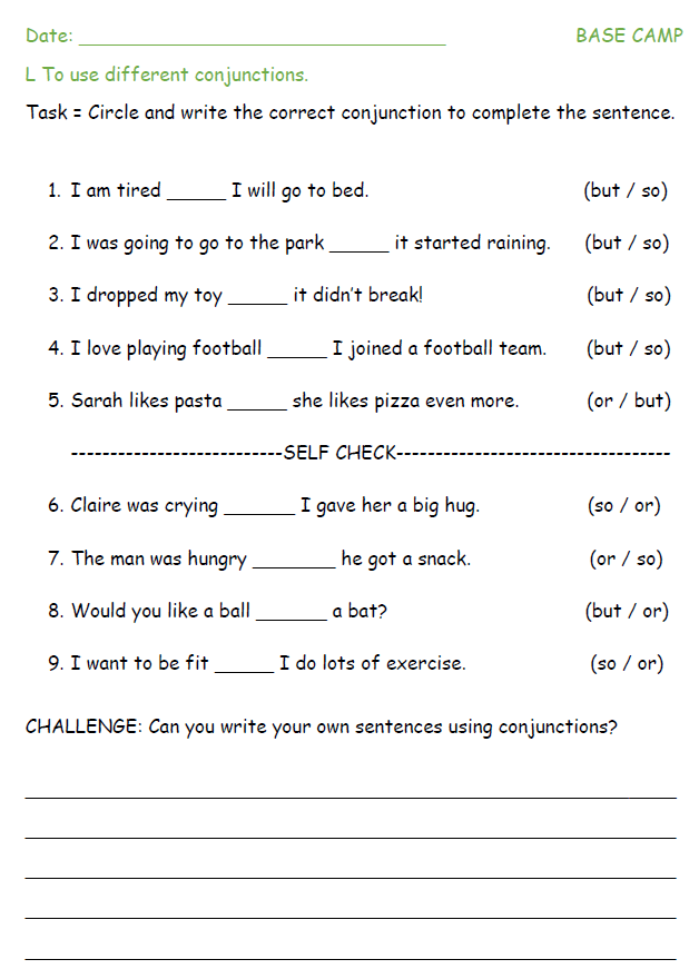 Idea 245 Selfchecking Differentiated Conjunctions Challenge Sheets. Each Sheet Begins With Binary Choice Questions Before Asking Children To Use Conjunctions In Sentences That They Make Up Themselves. Worksheet. Conjunctions Worksheet Year 2 At Mspartners.co